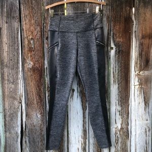"Athleta ""tweed"" & faux leather leggings"